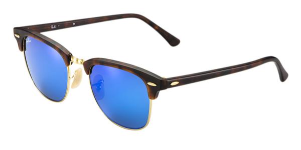 RAY-BAN RB3016 114517 MATTE TORTOISE FLASH BLUE CLUBMASTER SUNGLASSES   Lux  Eyewear c6eab406af5