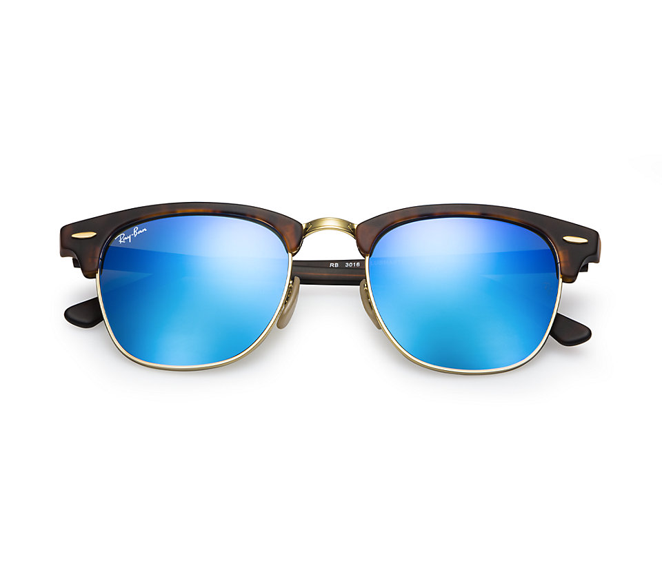 7c3d183d5a RAY-BAN RB3016 114517 MATTE TORTOISE FLASH BLUE CLUBMASTER SUNGLASSES