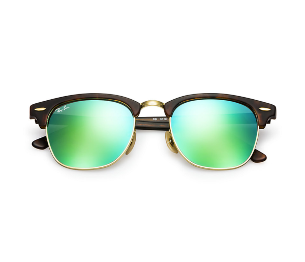 ray ban green clubmaster  RAY-BAN RB3016 114519 MATTE TORTOISE FLASH GREEN CLUBMASTER ...