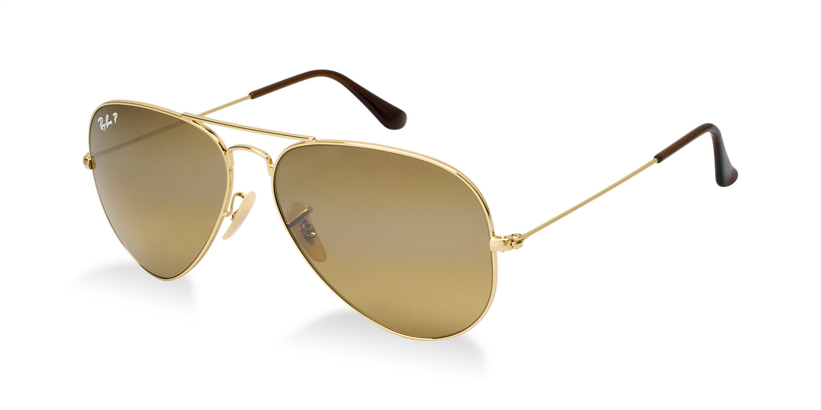 RAY-BAN RB3025 001/57 GOLD POLARIZED AVIATOR SUNGLASSES ...