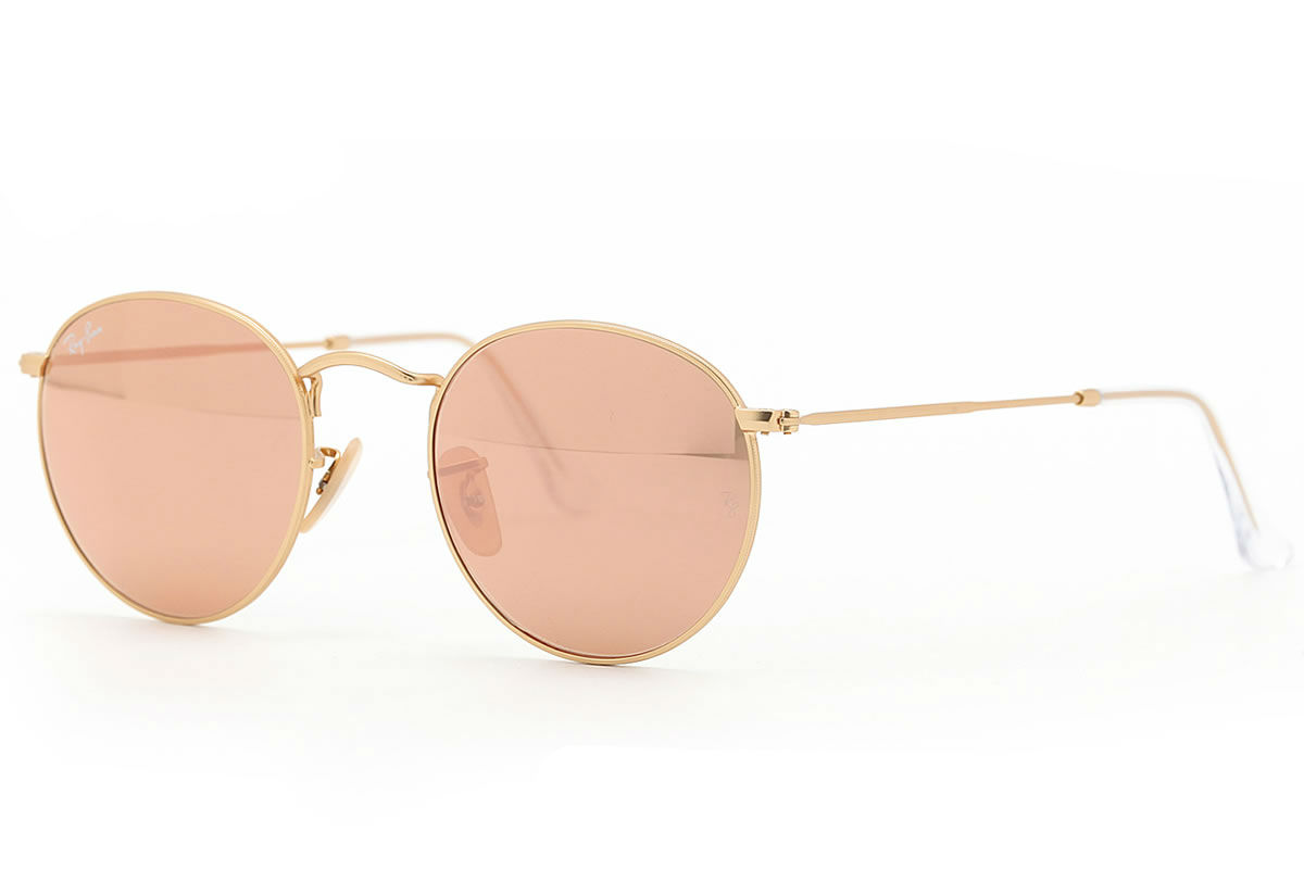 Ray Ban Rb3447 112 Z2 Gold Round Metal Sunglasses Lux