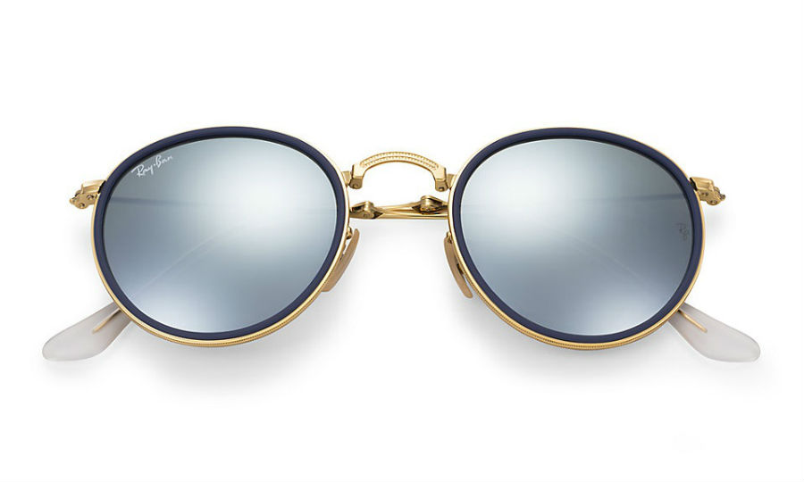 Ray Ban Rb3517 001 30 Gold Blue Folding Silver Flash