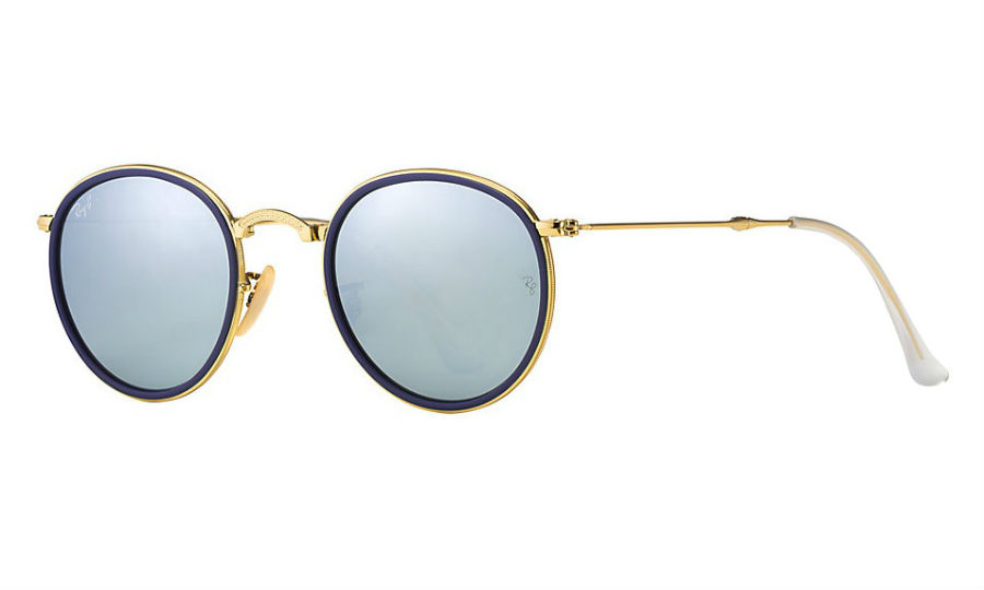 aa6dd75f53 Previous  Next. Previous  Next. RAY-BAN RB3517 001 30 GOLD BLUE FOLDING  SILVER FLASH SUNGLASSES