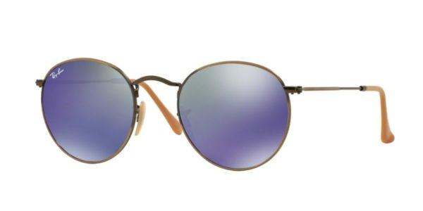 ray ban round sunglasses purple  ray ban rb3447 167/68 bronze round metal mirror purple sunglasses