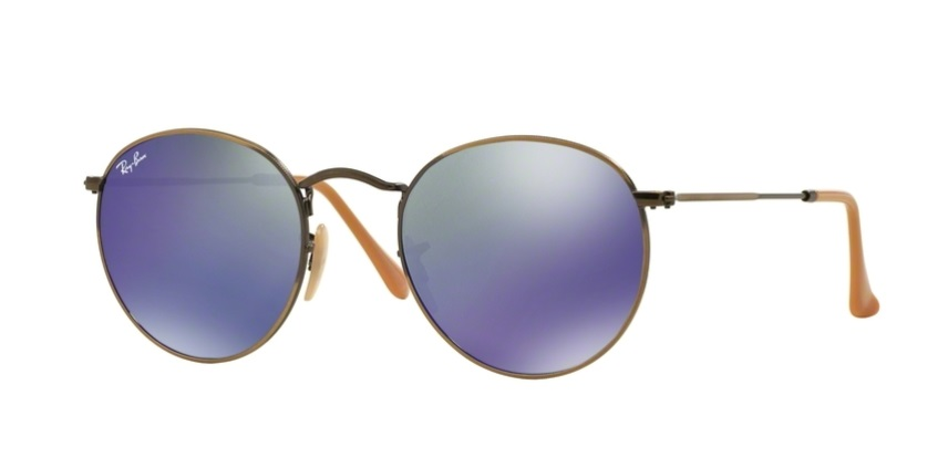 fe0598f3402 RAY-BAN RB3447 167 68 BRONZE ROUND METAL MIRROR PURPLE SUNGLASSES ...