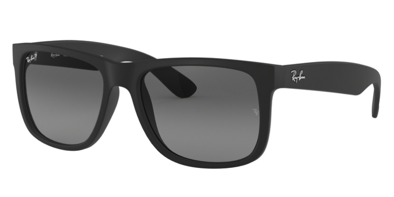 Ray Ban Rb4165 622 T3 Black Rubber Polarized Justin Sunglasses